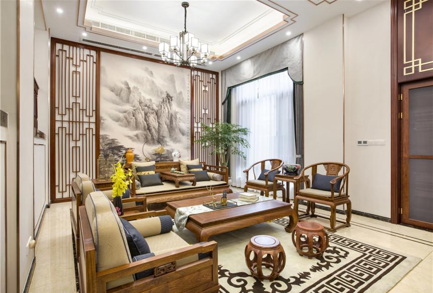 杭州装修公司设计中式风格别墅客厅装修效果图