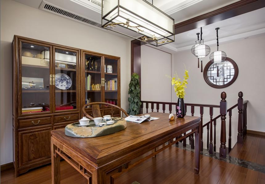 杭州装修公司中式风格别墅书房装修效果图