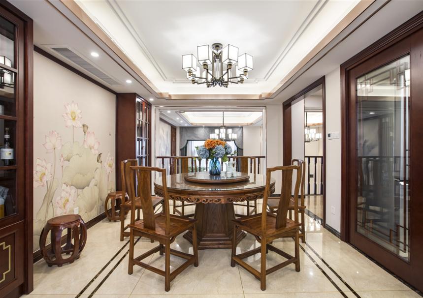 杭州装修公司中式风格别墅餐厅装修效果图