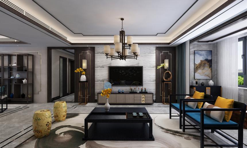 杭州装修公司179平新中式风格客厅装修效果图