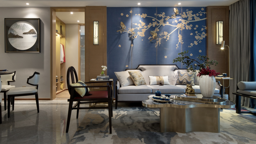 杭州装修公司126m2新中式沙发背景墙装修效果图