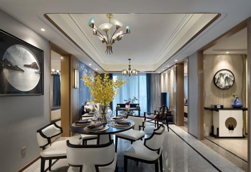 杭州装修公司126m2新中式餐厅装修效果图