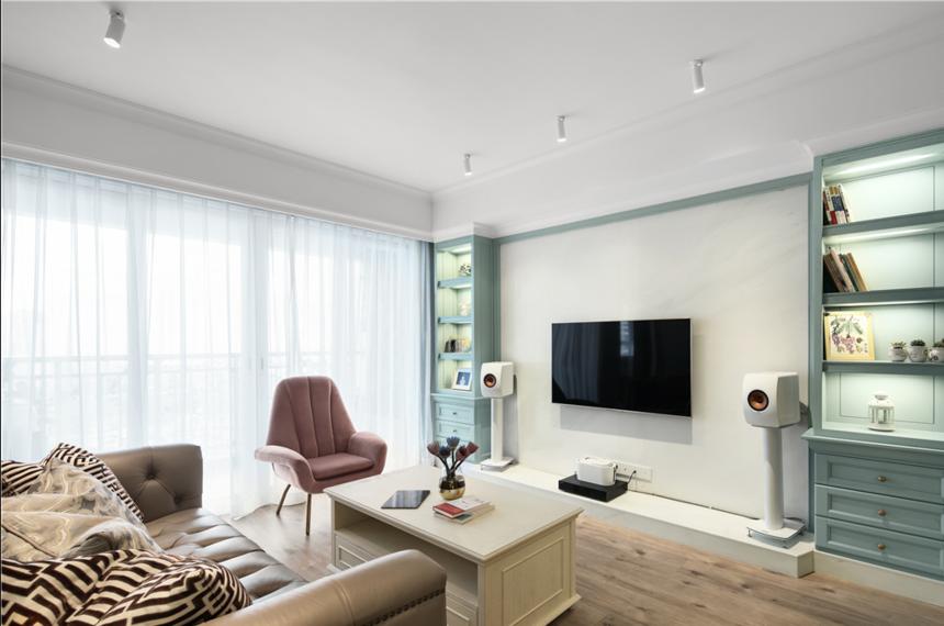 杭州装修公司120m2美式电视墙装修效果图