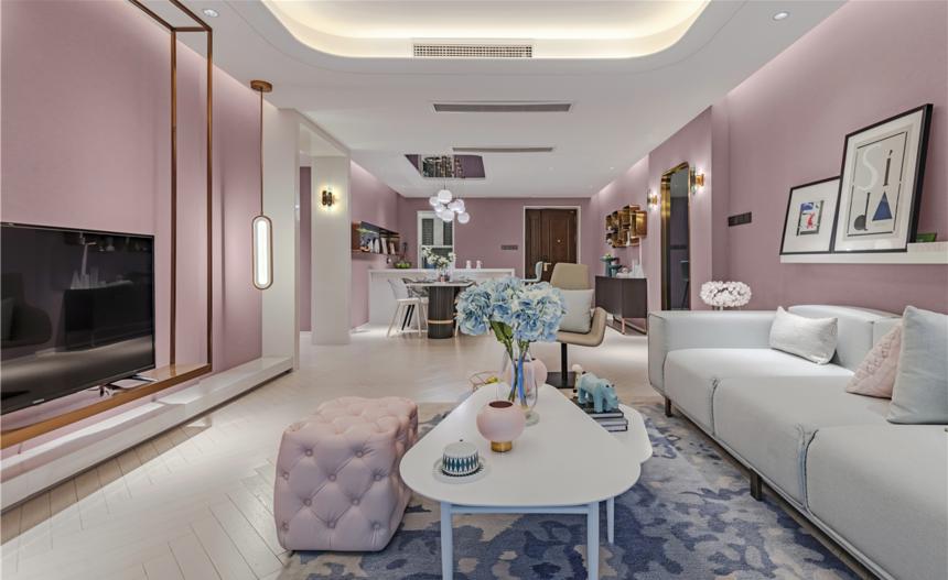 杭州装修公司案例:轻奢风三居室客厅装修效果图
