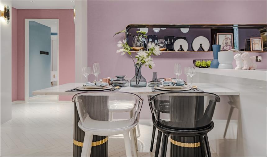 杭州装修公司案例:轻奢风三居室餐厅装修效果图