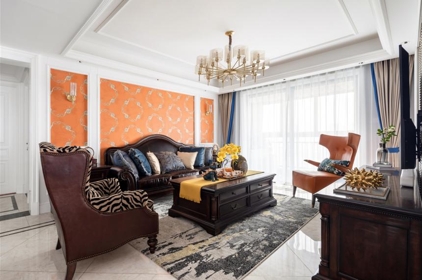 130平美式三居客厅装修效果图