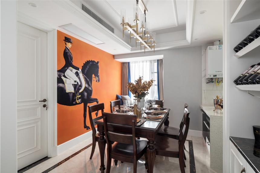 130平美式三居餐厅装修效果图
