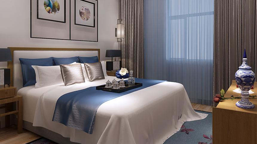 杭州装修公司案例88M2二居室新中式装修效果图-卧室