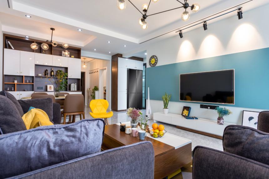 杭州装修公司现代北欧两居室客厅装修效果图