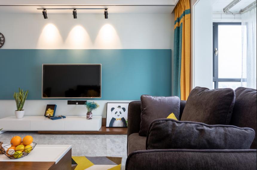 杭州装修公司现代北欧两居室电视墙装修效果图