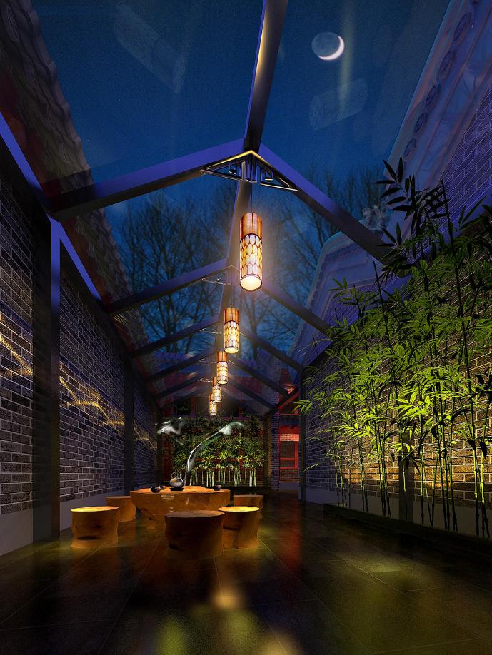 杭州装修公司四合院中式会所庭院装修效果图
