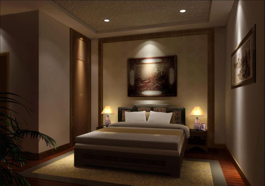 杭州装修公司四合院中式会所卧室装修效果图