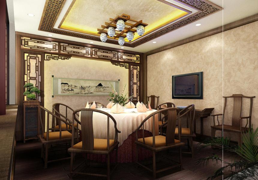杭州装修公司四合院中式会所餐厅装修效果图