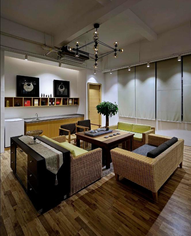 混搭风格办公室会客区装修效果图