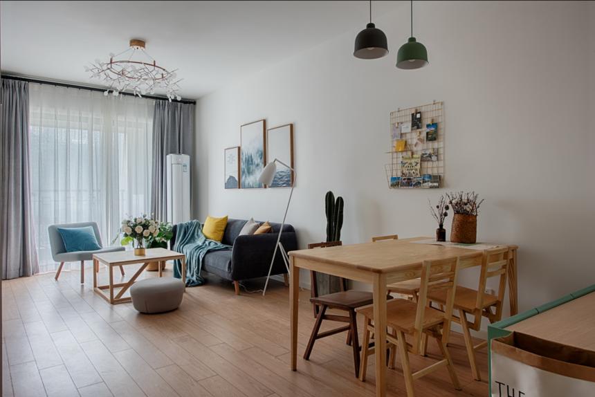杭州装修公司80㎡简约两居客餐厅装修效果图