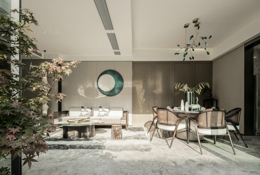 杭州装修公司设计大户型新中式客餐厅装修效果图