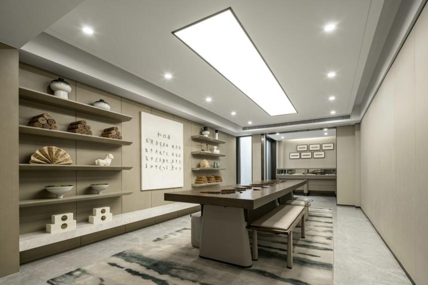 杭州装修公司设计大户型新中式书房装修效果图