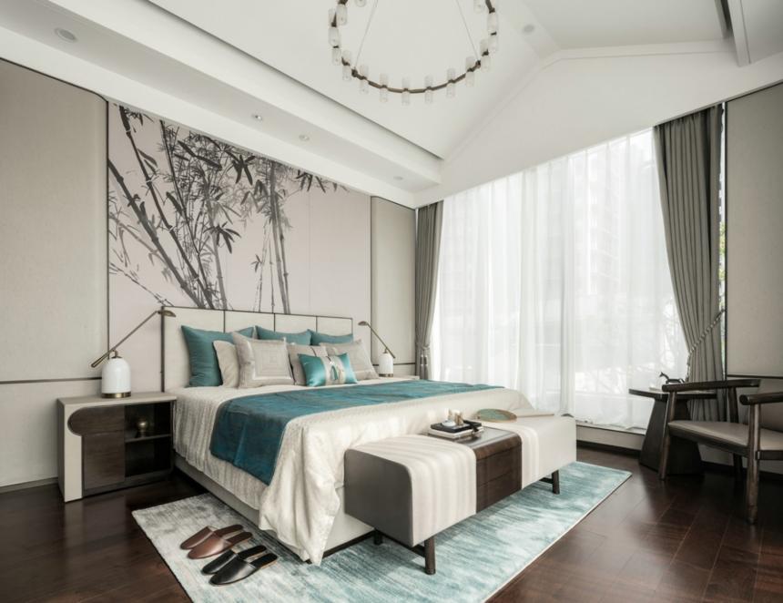 杭州装修公司设计大户型新中式卧室装修效果图