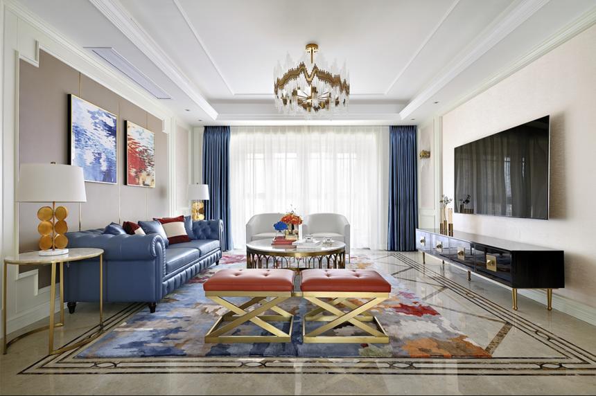 大户型美式轻奢客厅装修效果图