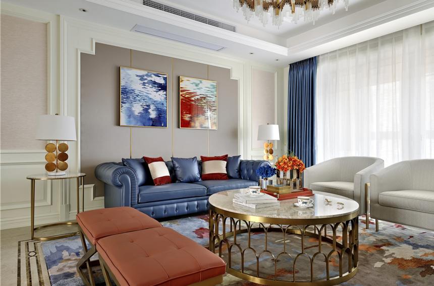 大户型美式轻奢沙发背景墙装修效果图