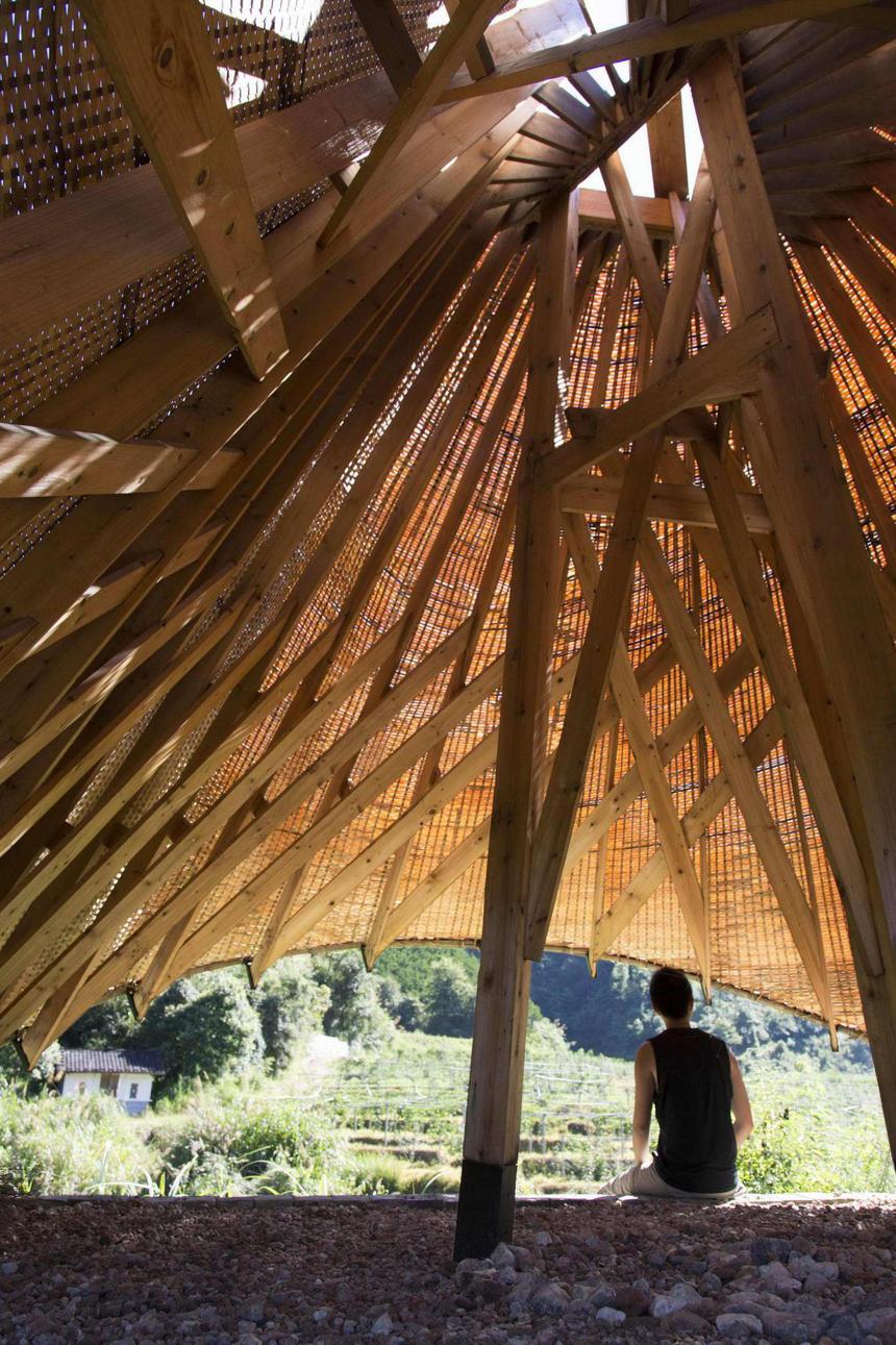 竹景观,竹编织,竹休息亭