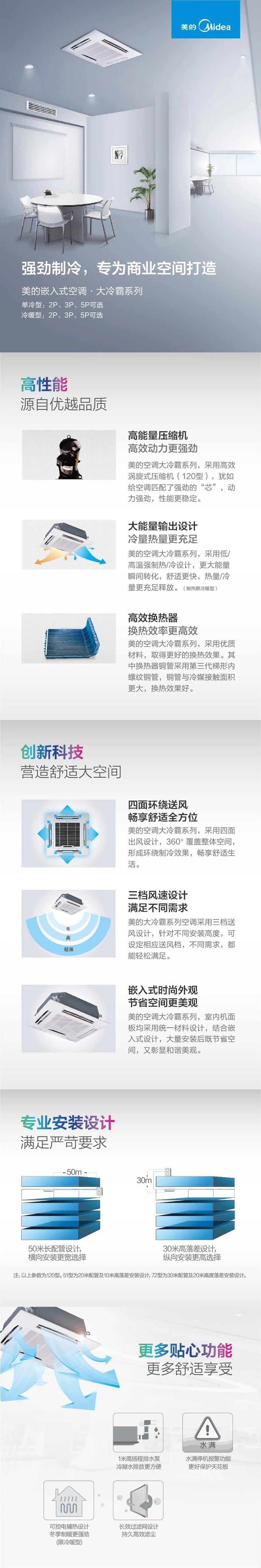 3匹冷暖中央空调天花机天井机嵌入机商用吸顶机空调