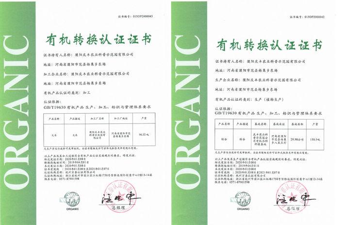 濮阳庆丰农业科普示范园有限公司的有机转换认证证书