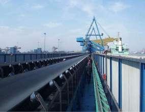 强力钢绳芯带式输送机港口输送现场