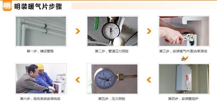 暖气片明装流程图