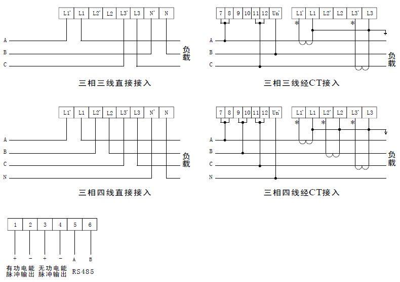 三相导轨式电表接线图