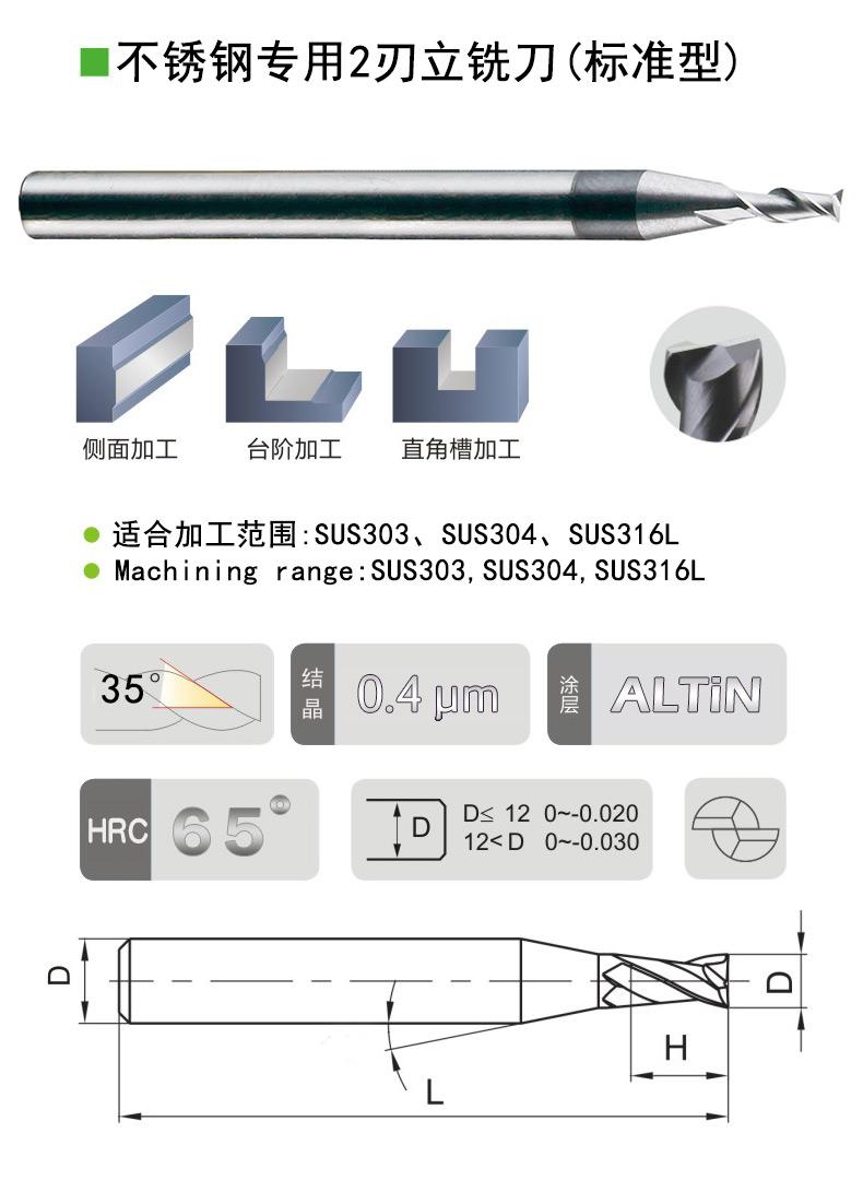 不锈钢用2刃平底铣刀