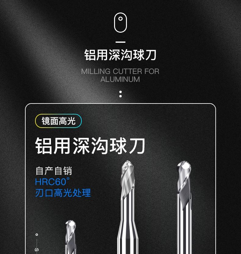 R0.5R0.75R1R1.5毫米mm铝用深沟球刀