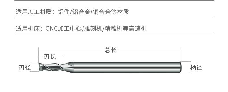 铜公专用2刃平头铣刀