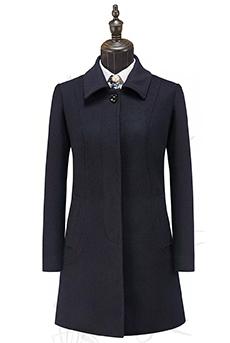 藏青色顺毛女大衣50%羊毛