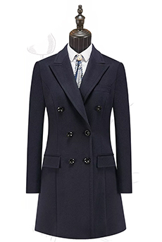 藏青色顺毛女大衣100%羊毛