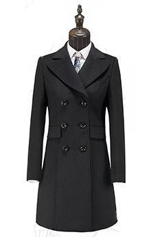 黑色顺毛女大衣50%羊毛