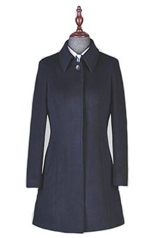 藏青色顺毛中长款女大衣