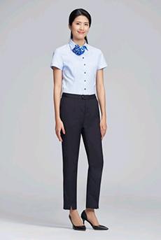 短袖衬衫职业装长裤套装