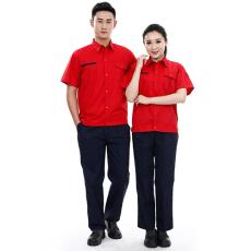 夏季工作服套装短袖薄款工服定制