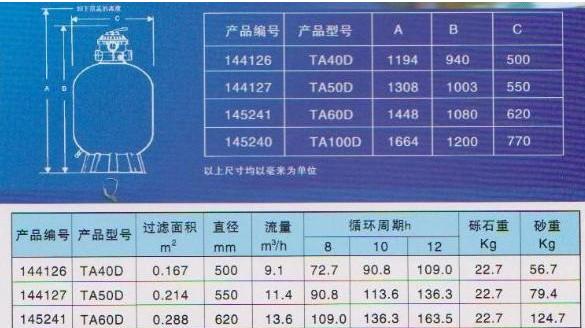 杭州泳景泳池设备厂家滨特尔过滤砂缸产品型号