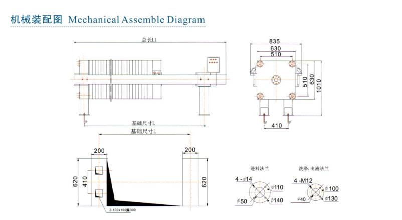 廂式壓濾機——機械裝配圖