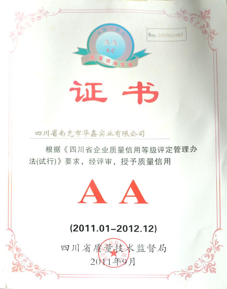 四川省企业质量信用等级AA级企业2011.01-2012.12.jpg