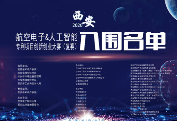 21个项目晋级!┃2020年西安航空电子与人工智能专利项目创新创业大赛复赛入围名单出炉