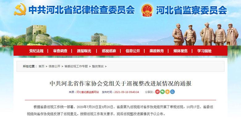 中共河北省作家协会党组关于巡视整改进展情况的通报