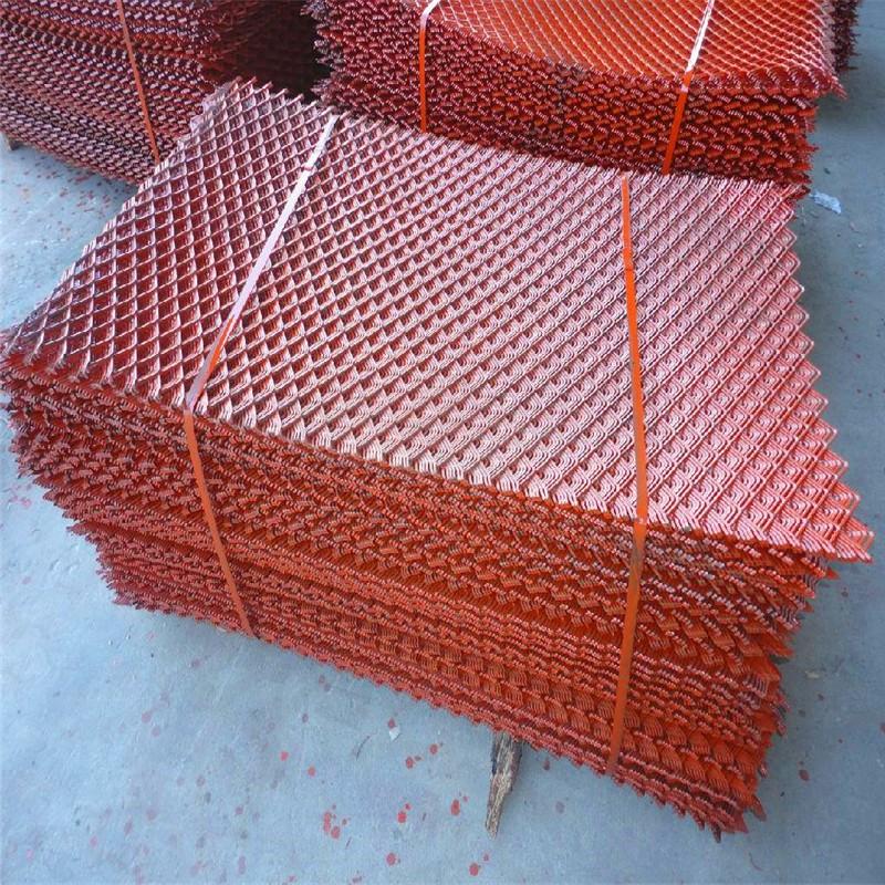 菱形装饰网厂家,钢笆片定做,红色菱形铁丝网.jpg