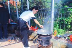 农家柴火灶自助做饭