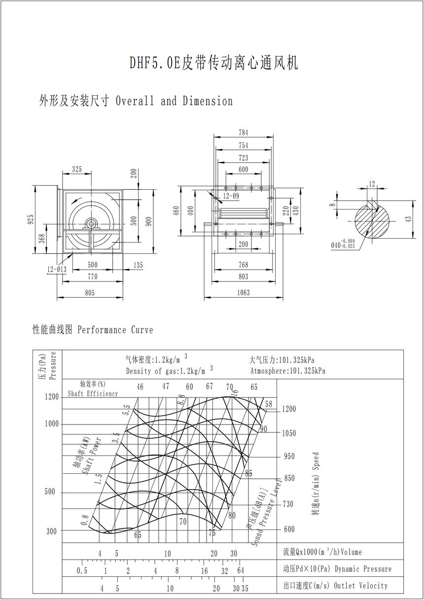 DHF5.0E皮带传动离心通风机