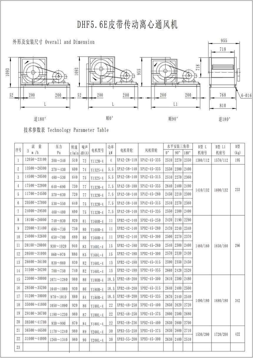 DHF5.6E皮带传动离心通风机