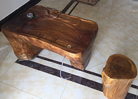 榆木茶桌整體樹根木實雕茶臺