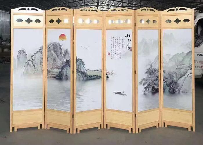 濟南酒店水墨畫屏風